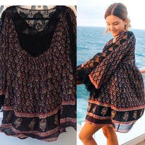 Free People Black Combo Nomad Child Dress